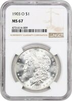 1903-O $1 NGC MINT STATE 67 - LOW MINTAGE DATE - MORGAN SILVER DOLLAR - LOW MINTAGE DATE