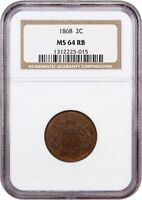 1868 2C NGC MINT STATE 64 RB - 2-CENT PIECE