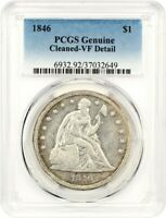 1846 $1 PCGS VF DETAILS CLEANED LIBERTY SEATED DOLLAR