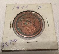 1840 BRAIDED HAIR LIBERTY HEAD LARGE ONE CENT ESTATE COIN FINE GRADE
