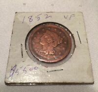 1852 BRAIDED HAIR LIBERTY HEAD LARGE ONE CENT COIN VF ESTATE COIN