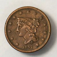 1841 BRAIDED HAIR 1C LARGE CENT   DETAIL   EARLY US COPPER LOTR132