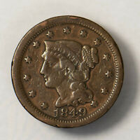 1849 BRAIDED HAIR 1C LARGE CENT  EARLY US COPPER LOTR137