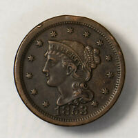 1853 BRAIDED HAIR 1C LARGE CENT   HIGH GRADE  EARLY US COPPER LOTR139
