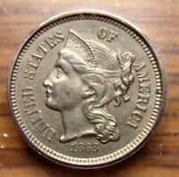 1868 THREE CENT NICKEL__ICG MINT STATE 62__INTERESTING CLASHED DIES