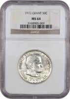1922 GRANT 50C NGC MINT STATE 64 - POPULAR COMMEMORATIVE ISSUE