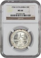 1936-S COLUMBIA 50C NGC MINT STATE 66 - LOW MINTAGE ISSUE - SILVER CLASSIC COMMEMORATIVE