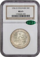 1936-D COLUMBIA 50C NGC/CAC MINT STATE 65 - LOW MINTAGE ISSUE - LOW MINTAGE ISSUE