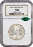 1936 COLUMBIA 50C NGC/CAC MINT STATE 65 - LOW MINTAGE ISSUE - LOW MINTAGE ISSUE