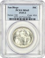 1935-S SAN DIEGO 50C PCGS MINT STATE 65 - SILVER CLASSIC COMMEMORATIVE