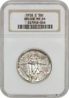 1938-S OREGON 50C NGC MINT STATE 66 - LOW MINTAGE ISSUE - SILVER CLASSIC COMMEMORATIVE