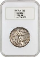 1937-D OREGON 50C NGC MINT STATE 64 OH LOW MINTAGE ISSUE - SILVER CLASSIC COMMEMORATIVE