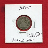 1850 SEATED LIBERTY DIME SILVER 105552 HIGH GRADE COIN US MINT   KEY DATE