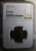 1834 CLASSIC HEAD HALF CENT- C1 - NGC MINT STATE 62BN - LOVELY TONING