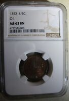 1853 BRAIDED HAIR HALF CENT- C1 - NGC MINT STATE 63BN - GLOW IN THE DARK