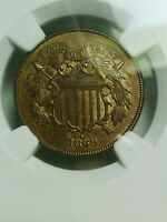 1869 TWO CENT PIECE 2C NGC UNCIRCULATED UNC CLEANED - LOOKS ORIGINAL