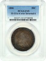 1806 50C PCGS F15 O-111A, 6/INVERTED 6 BUST HALF DOLLAR