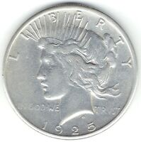 1925-S $1 PEACE DOLLAR BETTER DATE EXTRA FINE /AU BUT WAS CLEANED