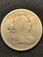 1806 DRAPED BUST EARLY HALF CENT GOOD DETAILS SMALL 6, NO STEMS