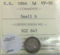 NEW BRUNSWICK 1864 5 CENTS  ICCS VF 30 COLLECTOR COIN MUCH LUSTRE UNDER GRADED