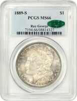 1889-S $1 PCGS/CAC MINT STATE 66 EX: RAY GEORGE - PRETTY TONING - MORGAN SILVER DOLLAR