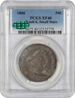 1806 50C PCGS/CAC EXTRA FINE 40 KNOB 6, SMALL STARS WHOLESOME, CHOICE EXTRA FINE