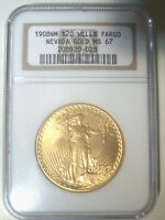 1908 NO MOTTO WELLS FARGO $20 GOLD   NGC MS67   ST. GAUDENS
