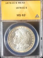 1878 CC MORGAN SILVER DOLLAR  ANACS MS62 NICE COIN FROSTY DEVICES