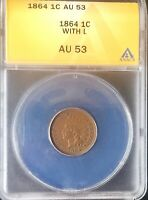 1864 L   KEY DATE  INDIAN HEAD CENT  AU 53 ANACS SHARP COIN GOOD EYE APPEAL