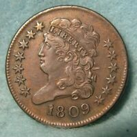 1809 CLASSIC HEAD HALF CENT AU DETAILS   STRUCK OUT OF COLLA