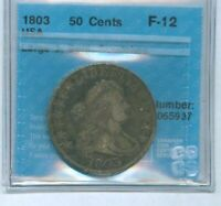 R3095.USA 50 HALF 1803 LARGE 3, BENT, SCRATCHES,GRADED CCCS F-12