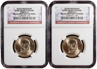 2008 P&D $1 6TH JOHN QUINCY ADAMS  $1 SET NGC MS66 FIRST DAY