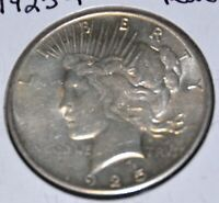 1925-P AU ALMOST UNCIRCULATED PEACE SILVER DOLLAR $1 COIN