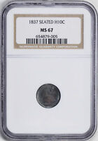 1837 LIBERTY SEATED H10C NGC MINT STATE 67