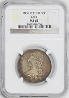 1836 CAPPED BUST 50C NGC MINT STATE 63