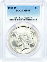 1923-D $1 PCGS MINT STATE 63 - PEACE SILVER DOLLAR