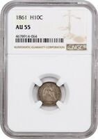 1861 H10C NGC AU55 - CIVIL WAR DATE - SEATED HALF DIME - CIVIL WAR DATE