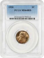 1920 1C PCGS MINT STATE 64 RD - LINCOLN CENT