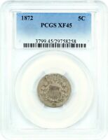 1872 5C PCGS EXTRA FINE 45 - SHIELD NICKEL