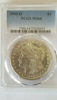 1903-O MORGAN SILVER DOLLAR $1 PCGS MINT STATE 64 CERTIFIED