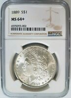 1889 SILVER MORGAN DOLLAR NGC MINT STATE 64 PLUS  MIRRORS GEMMY GEM GRADED COIN
