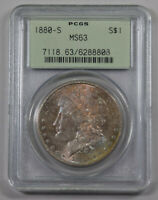 1880-S MORGAN SILVER DOLLAR PCGS MINT STATE 63 OGH  RAINBOW TONED OBV.