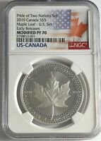 2019 $5 SILVER PRIDE OF TWO NATIONS CANADA NGC PF70 ER CANAD