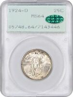 1924-D 25C PCGS/CAC MINT STATE 64 OGH RATTLER HOLDER - STANDING LIBERTY QUARTER