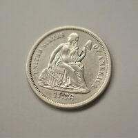1876-S US SEATED LIBERTY DIME VARIETY 4 RESUMED, CHOICE AU CONDITION  A-886