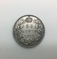 CANADA 1870 LCW  50 CENTS SILVER VICTORIA SHARP MID GRADE  CIRCULATED EXAMPLE