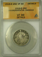 1919-D STANDING LIBERTY SILVER QUARTER 25C COIN ANACS VF-30 DETAILS