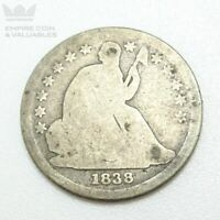 1838 LARGE STARS SEATED LIBERTY DIME AG / G CONDITION SEE REVERSE PHOTOS