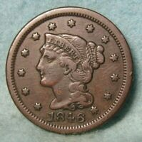 1846 BRAIDED HAIR LARGE CENT VF   US COIN