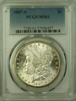 1887-S MORGAN SILVER DOLLAR $1 COIN PCGS MINT STATE 61 21